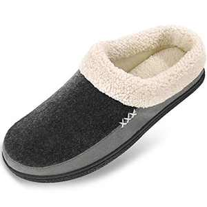 Men's Slippers Fuzzy House Shoes Memory Foam Slip On Clog Plush Wool Fleece Indoor Outdoor Size 13-14 Black/Grey