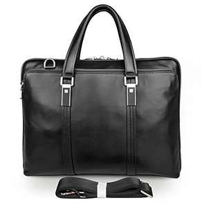 WILD WORLD Leather Laptop Briefcase Shoulder Bag for Men (Black, Medium)