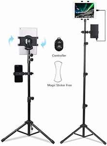 """Ecoolbuy Upgrade Portable Universal Floor Tablet Tripod Mount Stand bracket for 7 to 10 inch Tablets with 4.7"""" to 5.5"""" Phone Holder 360°Height Adjustable Display Music Meeting Video + BAG"""