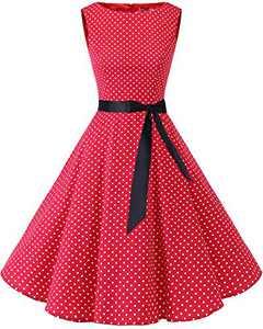 Bbonlinedress Womens Vintage 1950s Boatneck Sleeveless Retro Rockabilly Swing Cocktail Dress Red Small White Dot XS