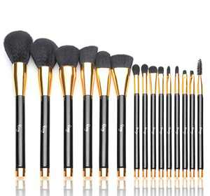 Qivange Makeup Brushes 15 PCS Liquid Foundation Powder Blending Brush Set Black With Gold