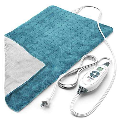 """Pure Enrichment PureRelief XL (12""""x24"""") Electric Heating Pad for Back Pain and Cramps - 6 InstaHeat Settings, Machine-Washable, Ultra-Soft Microplush, Auto Shut-Off, and Moist Heat (Turquoise Blue)"""