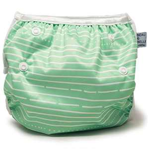 Eco-Friendly Reusable Baby Swim Diapers (Sizes N–5) – Adjustable, Easy-Wash Nageuret Reusable Swim Diaper Boys & Girls – Soft, Breathable, Waterproof Swim Wear for Baby & Newborn! (Green Stripes))