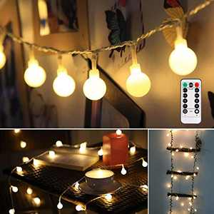 ALOVECO LED String Lights, 18ft 50 LED Waterproof Ball Lights with Remote, 8 Lighting Modes, Battery Powered Starry Fairy String Lights for Bedroom, Garden, Christmas Tree, Wedding, Party(Warm Color)