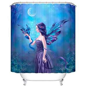"""ChezMax Gorgeous Fairy Lady with Cool Wings Print Waterproof Bathroom Shower Curtain with 12 Hooks 60"""" W x 72"""" L"""
