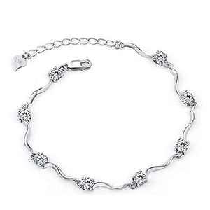 Tusuzik Ladies White Gold Plated Crystal Bracelets with Shiny White Cubic Zirconia,Birthday Friendship Wedding for Women Wife