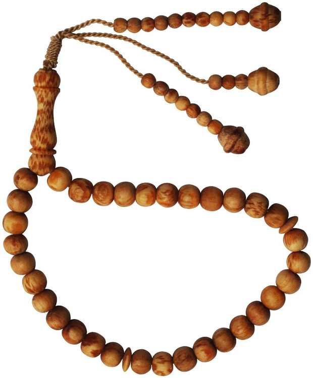 Ramadan Special Naturally Scented 33-Bead Pine Pitch Wood Prayer Beads Rosary- 8mm Wood Tasbih Tespih
