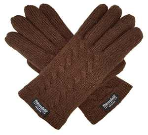 Bruceriver Ladie's Pure Wool Knit Gloves with Thinsulate Lining and Cable design Size M (Brown)