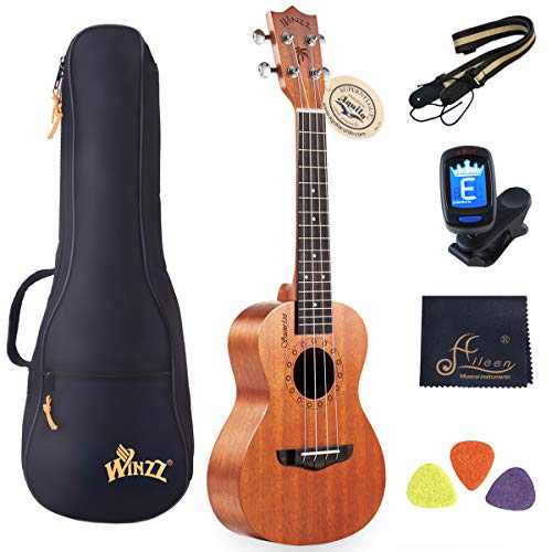 Mother's Day Gift - WINZZ Mahogany Hawaii Ukulele Uke for Beginners Kids Adults with Full Kit, 23 Inches Concert