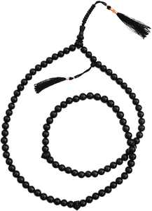 Unique Hand-Crafted Black Tasbih - Made from Citrus Wood with Copper-Decorated Tassels