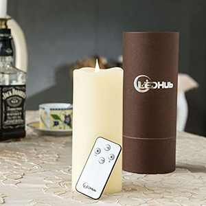 """LED Hub 3""""x7"""" Electric Candles with Conical Wick: Battery Operated, with Remote and Timer"""