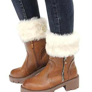 Womens Fur Trim Boot Cuff Top Cover Leg Warmers Ivory