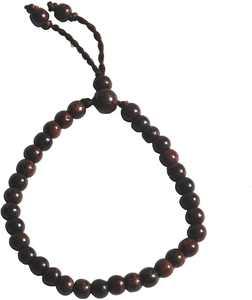 Hand-made Adjustable Tension 5.5x6.5mm bead Exotic Tamarind Tree Wood Tasbih Bracelet 33-beads