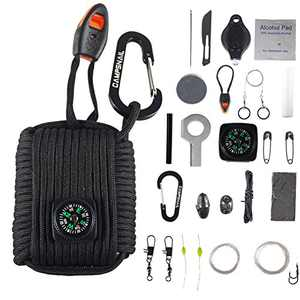 CAMPSNAIL Emergency Survival Kit Grenade - 25 Accessories First Aid Kit Survival Wrapped in 550 lb Paracord Survival Grenade Cord for Emergencies