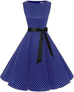 Bbonlinedress Womens Vintage 1950s Boatneck Sleeveless Retro Rockabilly Swing Cocktail Dress Navy Small White Dot M