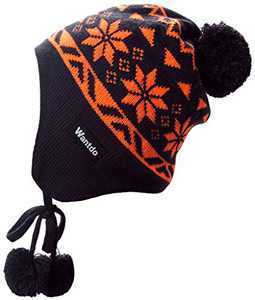 Wantdo Retro Caps Outdoor Thick Beanies Knit Hats for Holiday Anthracite Orange