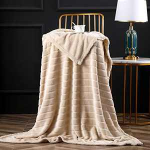 """Bertte Throw Blanket Super Soft Cozy Warm Blanket 330 GSM Lightweight Luxury Fleece Blanket for Bed Couch- 50""""x 60"""", Light Beige"""