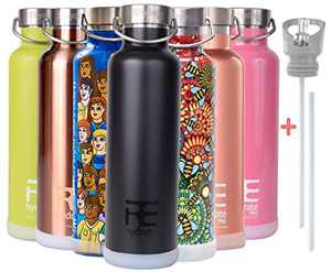 Rehydrated Pro 25oz Insulated Water Bottles with Straw, Bonus Lids and Leak Proof Flask to Keep Liquids Hot or Cold- Triple Wall Vacuum Insulated Stainless Steel Water Bottles, Perfect for Gifts