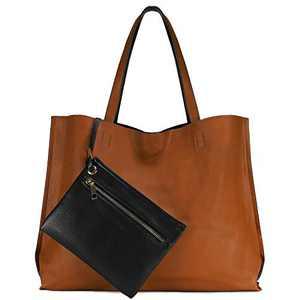 Scarleton Stylish Reversible Tote Handbag for Women, Vegan Leather Shoulder Bag, Hobo bag, Satchel Purse,Camel Brown/Black, H18422501