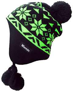 Wantdo Classic Youth Knit Cap Fleece Liner Hat with Pom Pom Black Green