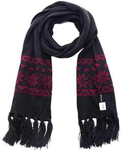 Wantdo Adult Muffle Snowflake Printed Scarf for Outdoor Sports Anthracite Wine