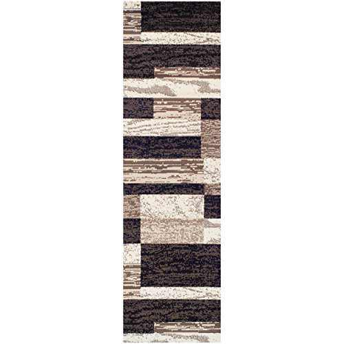 "SUPERIOR Modern Rockwood Collection Rug Runner, Modern Area Rug, 8 mm Pile, Geometric Design with Jute Backing, Chocolate, 2'6"" x 8'"