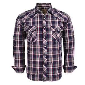 Coevals Club Men's Western Cowboy Long Sleeve Pearl Snap Casual Plaid Work Shirts (Red Blue #3 L)