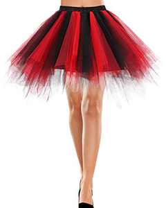 Bbonlinedress Women's New Year Mini Tulle Skirt 1950s Vintage Adult Ballet Tutu Skater Skirt for Cosplay Party Black-red S