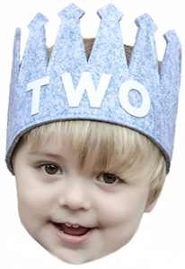 Second Two Birthday Baby Boy Gray White Party Crown Hat