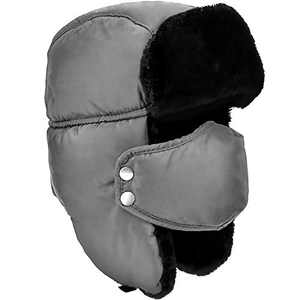 DOXHAUS Unisex Winter Ear Flap, Trooper, Trapper, Bomber Hat, Keeping Warm While Skating, Skiing Other Outdoor Activities Grey, Black Fur