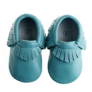 "Pidoli Baby Girls Genuine Leather Soft Sole Moccasins Infant Toddler (1 11cm 4.33"", Turquoise)"