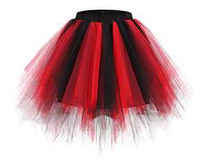 Bridesmay Women's Tutu Skirt 50s Vintage Ballet Bubble Dance Skirts for Cosplay Party Black-Red S