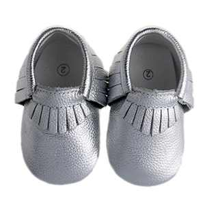 "Pidoli Baby Girls Genuine Leather Soft Sole Moccasins Infant Toddler (4 14cm 5.51"", Silver)"