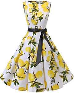 Bbonlinedress Womens Vintage 1950s Boatneck Sleeveless Retro Rockabilly Swing Cocktail Dress Lemon XS
