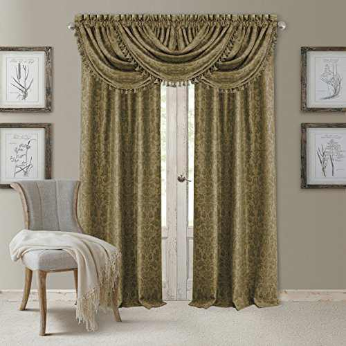 "Elrene Home Fashions 20860ELR Antonia Blackout Rod Pocket/Back Tab Window Curtain Panel,Antique Gold,52"" X 84"