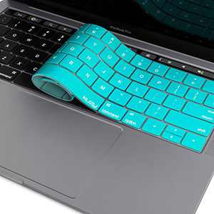 Kuzy Compatible with MacBook Pro Keyboard Cover with Touch Bar for 13 and 15 inch 2019 2018 2017 2016 (Apple Model A2159, A1989, A1990, A1706, A1707) Silicone Skin Protector, Teal