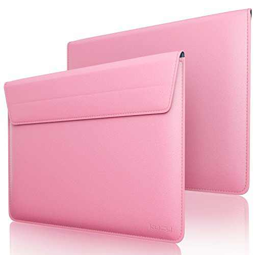 Kuzy 15 inch Laptop Sleeve Leather Case for 16-inch New MacBook Pro and MacBook Pro 15 inch 2019-2012, 15 inch Microsoft Surface Book 2, Laptop 15.4 inch Cover Computer Notebook Bag, Pink