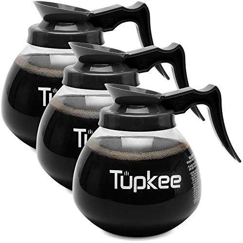 Glass Coffee Pots Decanter Carafe - SHATTER-RESISTANT Commercial Coffee Pot Replacement – 64 oz. 12-Cup, Set of 3 Black Handle - Regular - Compatible with Wilbur Curtis, Bloomfield, Bunn Coffee Pot