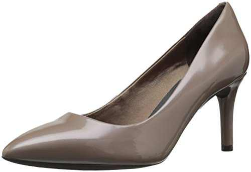 Rockport Women's Total Motion 75mm Pointy Pump,Taupe Grey Patent,9.5 W US