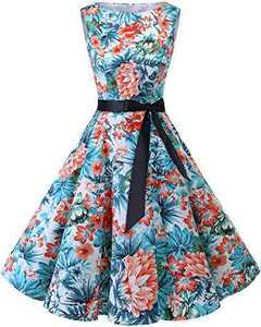 Bbonlinedress Womens Vintage 1950s Boatneck Sleeveless Retro Rockabilly Swing Cocktail Dress Blue Red Flower L