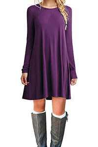 Tinyhi Women's Casual Plain Long Sleeve Loose Swing Cotton Dress, Purple, Medium