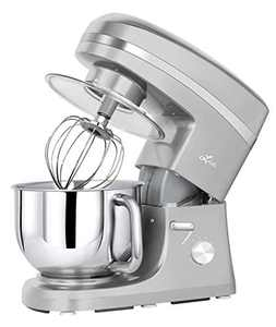 Litchi Kitchen Stand Mixer, 5.5 Qt. 650W 6-Speed Electric Mixer with Stainless Steel Bowl, Pouring Shield, Beaters, Whisk, Dough Hook, Silver