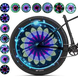 QANGEL Bicycle Spoke Light Waterproof 36 LED Lights Display Bright 32 Patterns Full Bike Wheel Change (1 Tire)