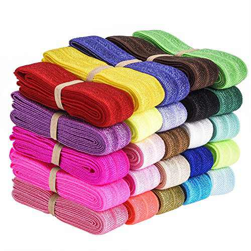 eBoot 25 Pieces Elastic Stretch Foldover Elastics Hair Ties Headbands, 25 Colors, 38 Inches by 3/5 Inch