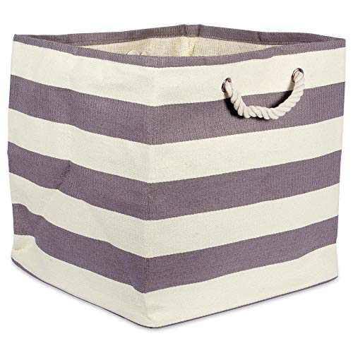 DII Woven Paper Storage Basket X-Large, Gray Rugby Stripe, Square Bin