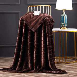 "Bertte Throw Blanket Super Soft Cozy Warm Blanket 330 GSM Lightweight Luxury Fleece Blanket for Bed Couch- 50""x 60"", Brown"