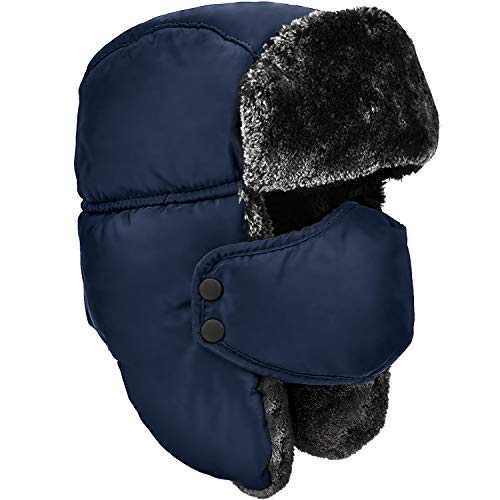 DOXHAUS Unisex Winter Ear Flap, Trooper, Trapper, Bomber Hat, Keeping Warm While Skating, Skiing Other Outdoor Activities Navy, Grey Fur