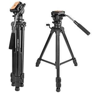 Video Tripod with Fluid Head, Kamisafe VT-1500 Heavy Duty Camera Tripod Travel Tripod Aluminum Compatible for DSLR SLR Nikon Canon Sony Camcorder DV with Carry Bag