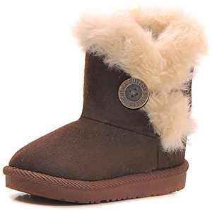 Poppin Kicks Girls Bailey Button Snow Boots Kids Winter Faux Fur Flat Shoes Brown 10.5 M US Little Kid