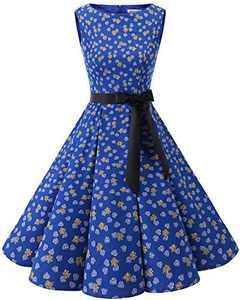 Bbonlinedress Womens Vintage 1950s Boatneck Sleeveless Retro Rockabilly Swing Cocktail Dress RoyalBlue Leaves XS